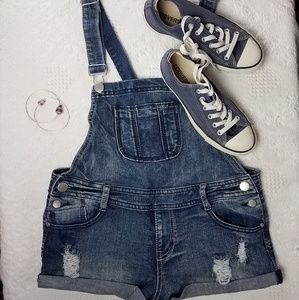 Empyre Distressed Jean Overalls Shortalls